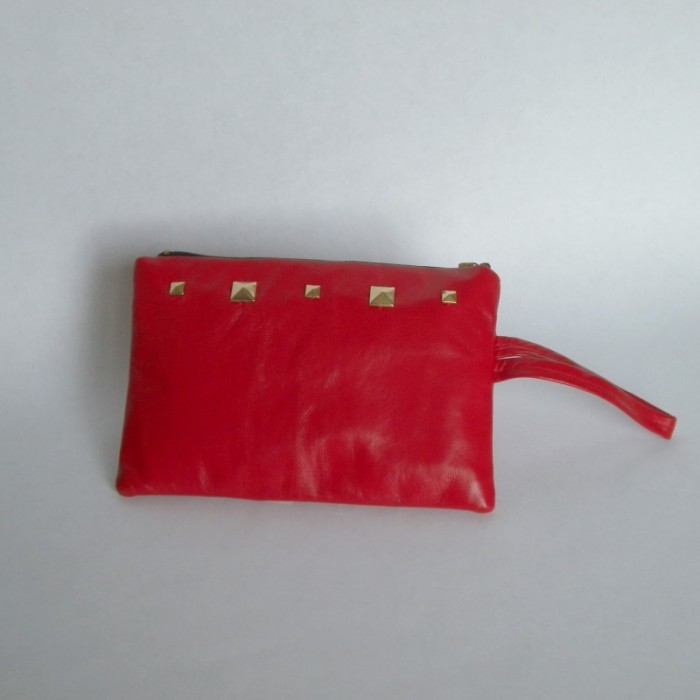 Red leather purse with studs