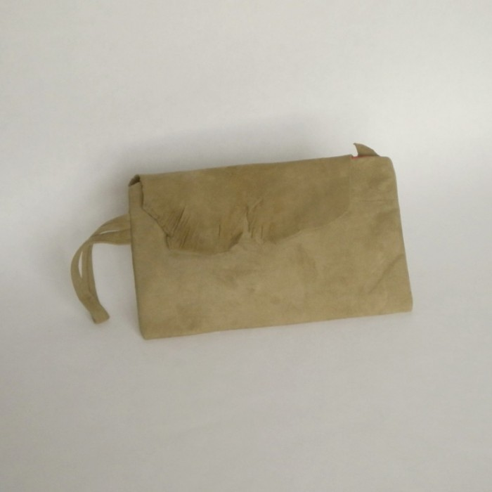 Light khaki suede purse with flap