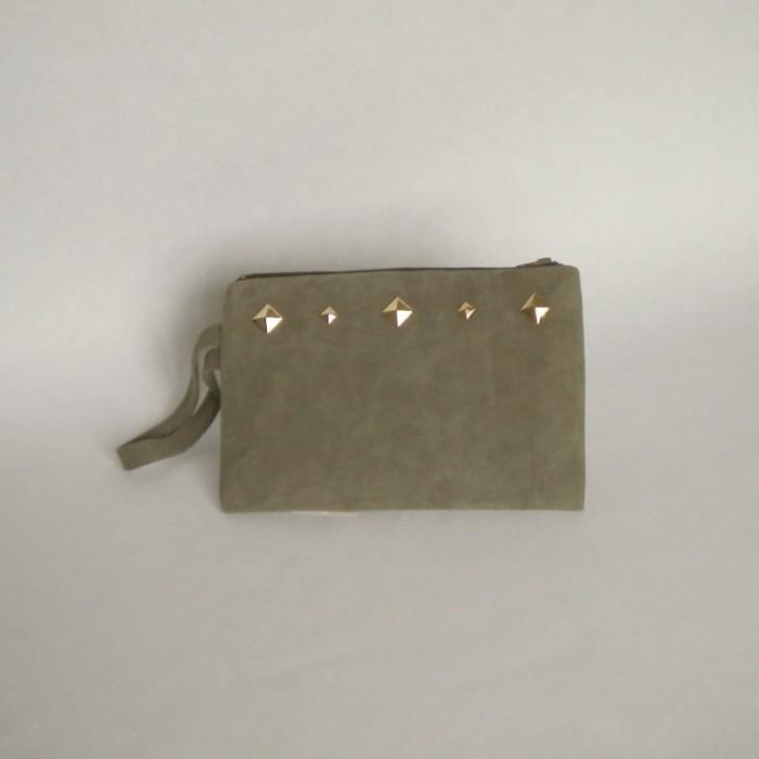Dark khaki suede purse with studs