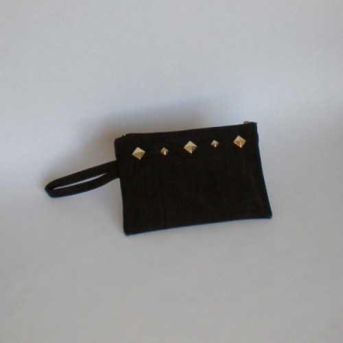 Pochette noire en daim à clous