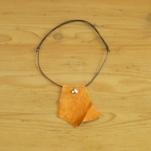 Tan leather necklace
