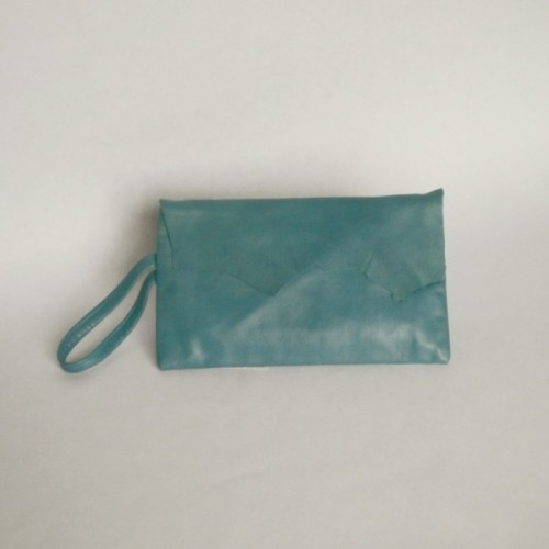 Blue leather purse with flap
