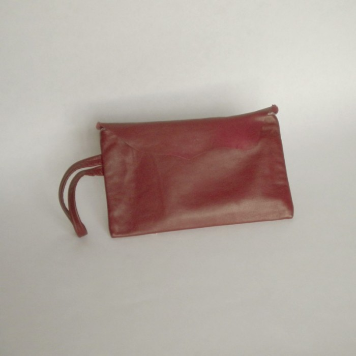 Burgundy leather clutch with flap