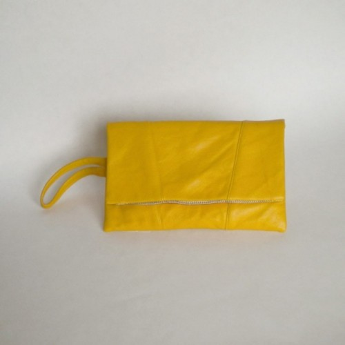 Yellow leather purse with panels