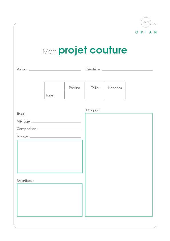 """Gratuit : Fiche """"Mon projet couture"""" à télécharger"""