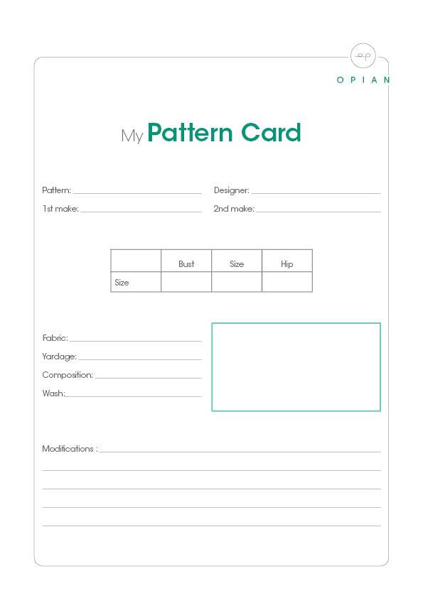Free printables - My sewing pattern card