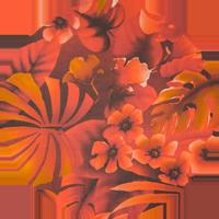 Tissu Hérens - Mousseline impression jungle rouge