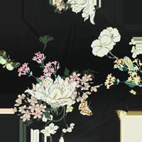Tissu Hérens _ Tissu satin Butterflies and flowers
