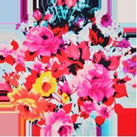 tissu Hérens - Satin de soie imprimé florale