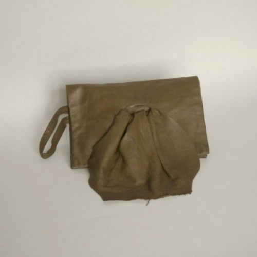 Bottle green leather clutch
