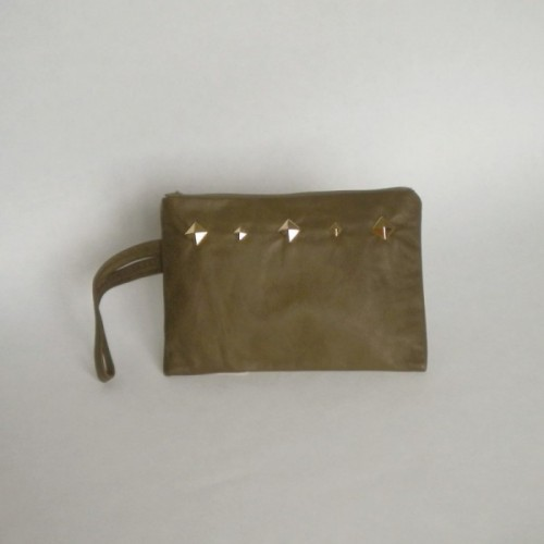 Bottle green leather purse with studs