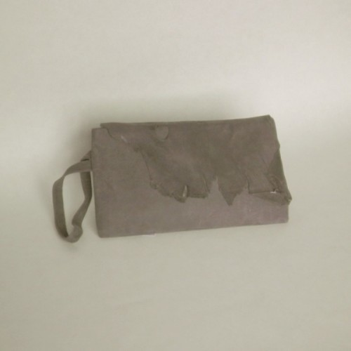 Grey suede clutch bag with flap