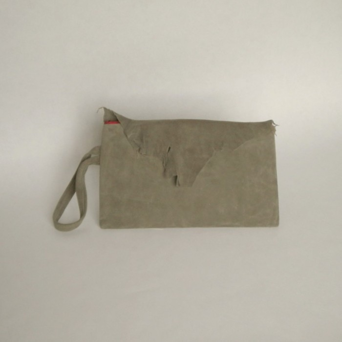 Dark khaki suede clutch with flap