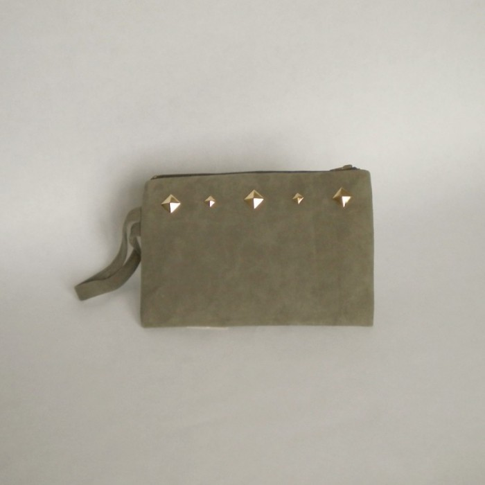 Dark khaki suede purse with studs