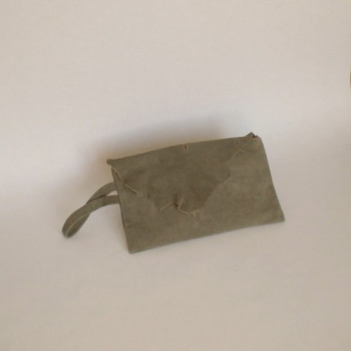 Dark khaki leather purse with flap
