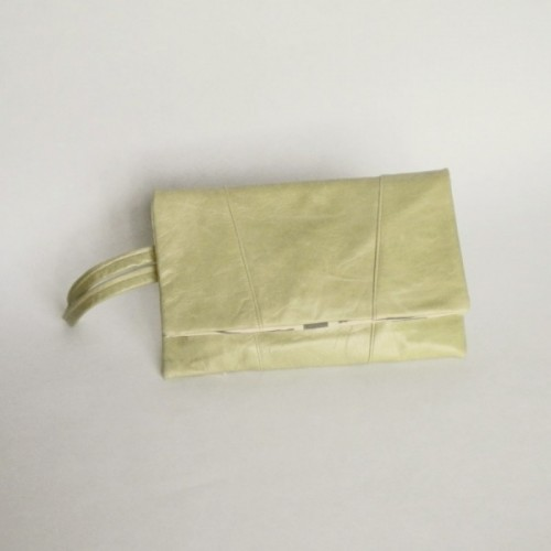 Mint leather clutch with panels