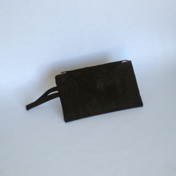 Black suede clutch with flap