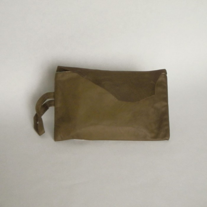 Bottle green leather bag with flap