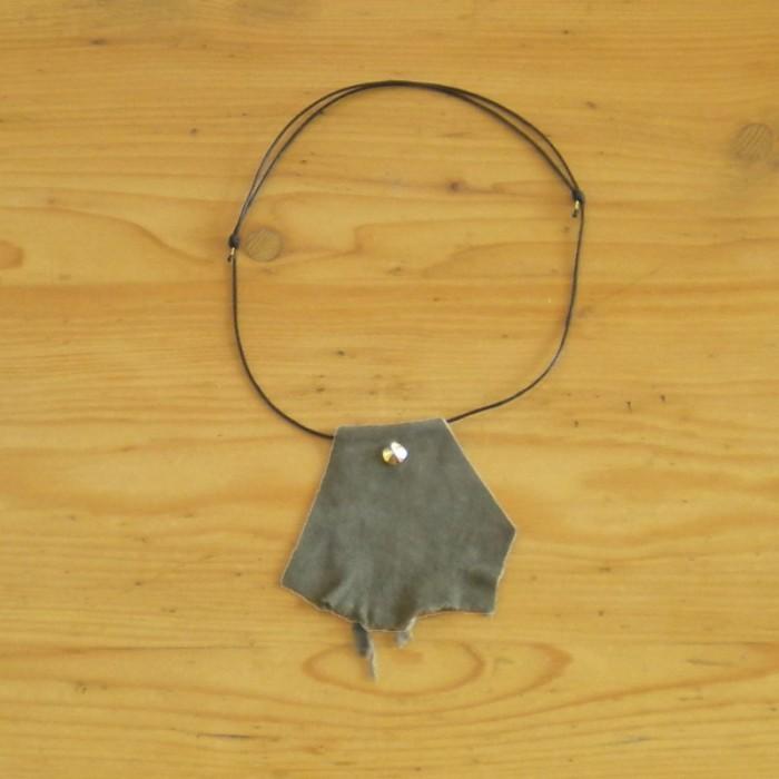 Dark khaki suede necklace