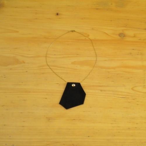 Collier en daim noir avec chaînette - Nyon