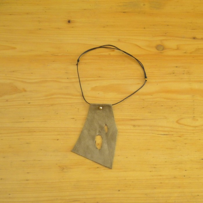 Suede khaki necklace with holes