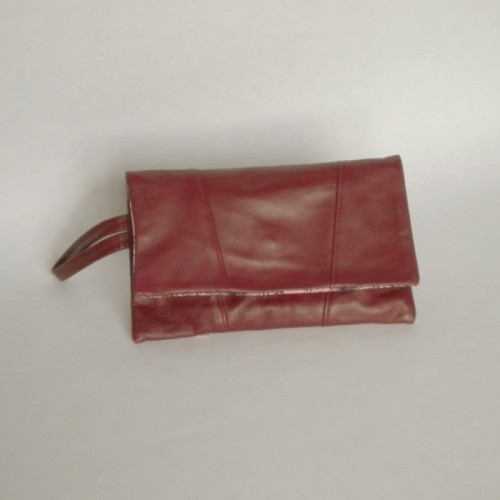 Burgundy leather purse with panels