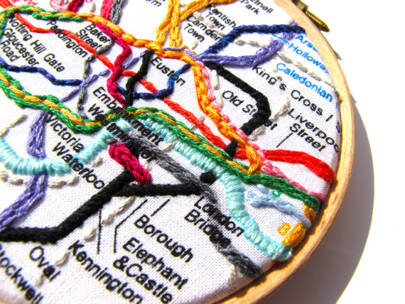 Mirrymirry London tube embroidery